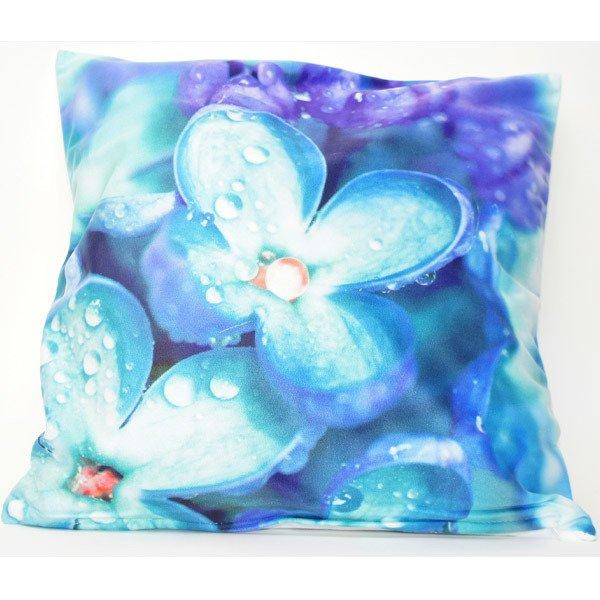 Poszewka Welurowa 3d Niebieskie Kwiaty 45x45 Cm